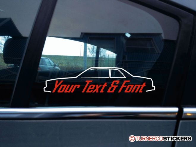 2x (two)  Custom, YOUR TEXT Chevrolet Malibu 2-door coupe (G-Body 1978-1982) car STICKERS